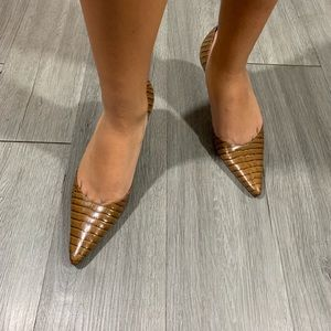 Ann Taylor NEW Brown Crock D'Orsay Kitten Heels